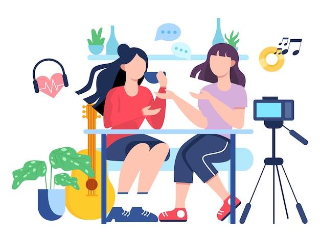 Illutratiion di video blogging. idea di creatività e realizzazione di contenuti, professione moderna. personaggio che registra video con la fotocamera per il loro blog.