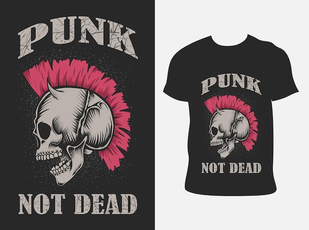 Illutration teschio punk con design t-shirt