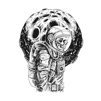 Ilustration astronauta con design luna.
