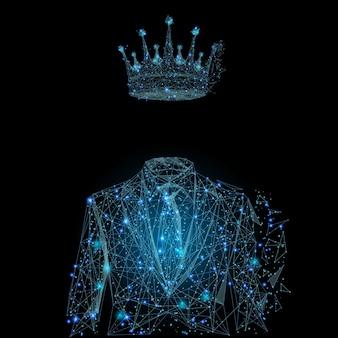 Immagine di uomo d'affari in tuta con corona