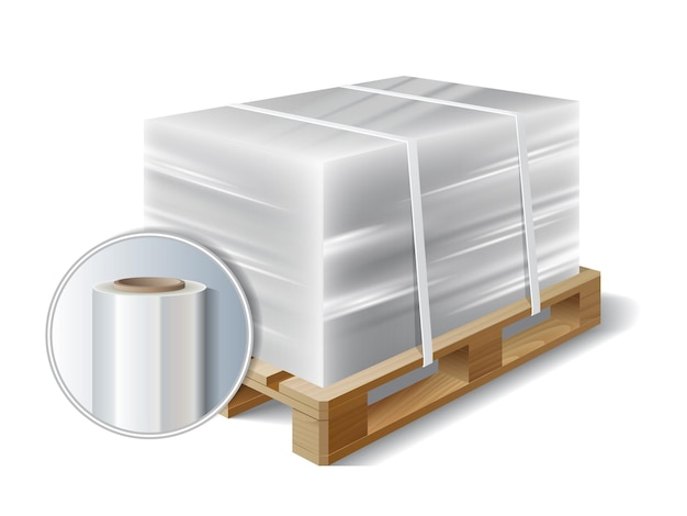 Immagine di film estensibile in plastica avvolto da carico su pallet di legno. simbolo di trasporto di spedizione. illustrazione vettoriale