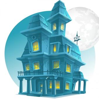 Immagine di una casa infestata su uno sfondo di luna