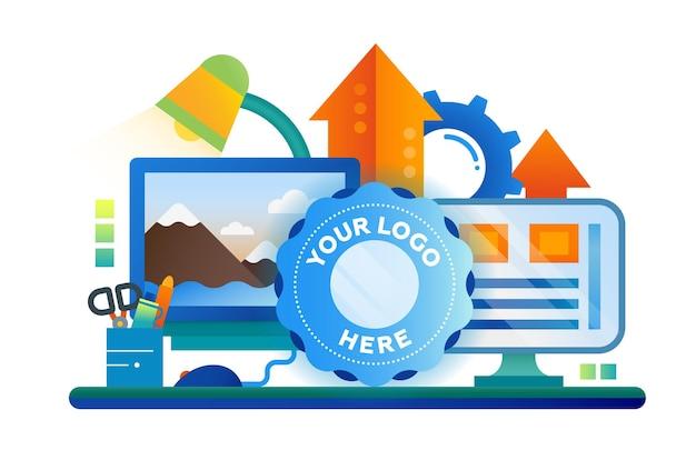 Elaborazione delle immagini - illustrazione moderna con posto di lavoro, schermi di computer, frecce in alto, cornice del logo