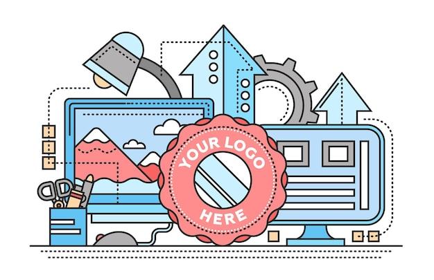 Elaborazione delle immagini - illustrazione vettoriale moderno design piatto con posto di lavoro, schermi di computer, frecce in alto, cornice logo