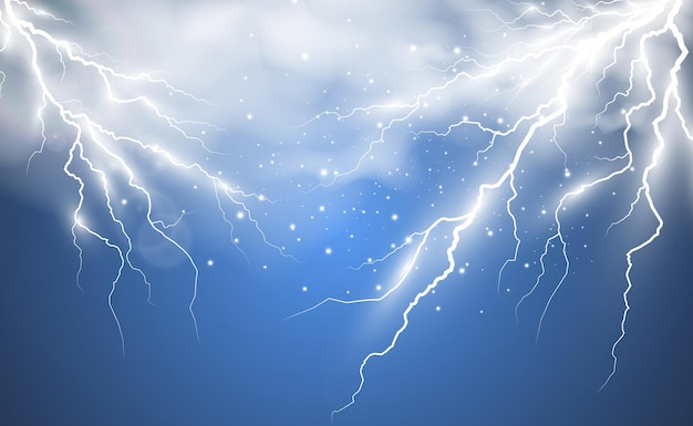 Immagine del fulmine realistico flash di tuono