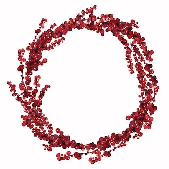 Immagine di una corona di natale rotonda fatta di rami di pino