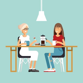 Immagine di due ragazze al caffè