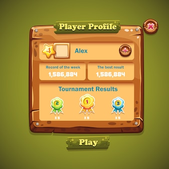 Immagine dell'interfaccia utente di finestre in legno. profilo del giocatore