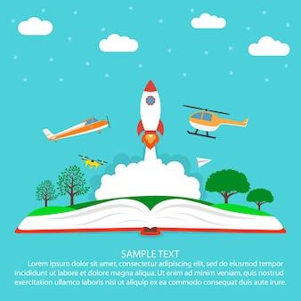 Concetto di immaginazione che legge libro aperto con aeroplano di carta dell'elicottero dell'aereo dell'astronave del razzo