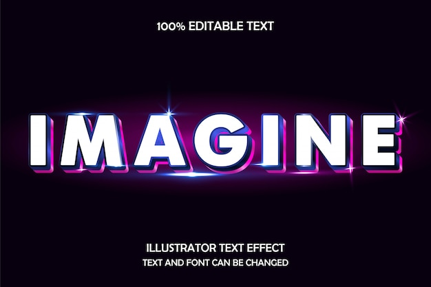 Immagina, effetto testo modificabile in 3d moderno stile neon in vetro