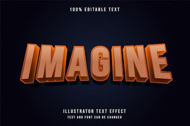 Immagina, 3d testo modificabile effetto arancione gradazione stile moderno