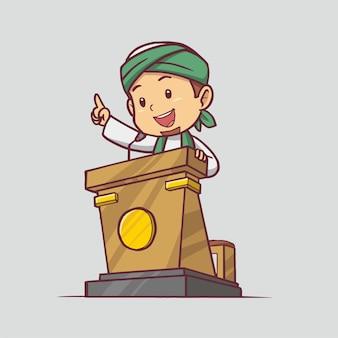 Un imam che tiene una lezione sul podio illustrazione disegnata a mano arte