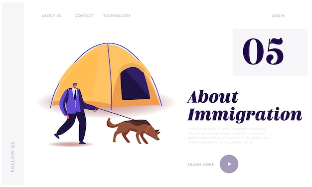 Modello di pagina di destinazione dell'immigrazione.