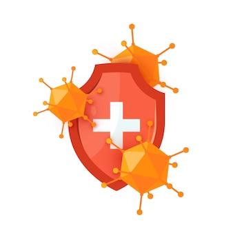 Icona dello scudo immunitario con uno scudo medico rosso e virus in stile cartone animato.