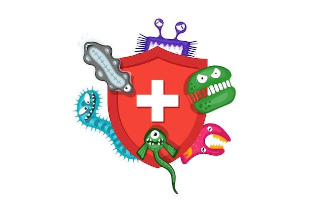 Concetto di sistema immunitario scudo rosso medico igienico che protegge da germi virali e batteri piatti