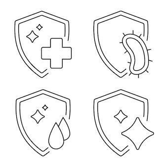 Concetto di sistema immunitario set di scudo con simboli di batteri protezione dal concetto di virus