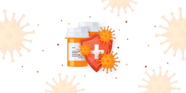 Banner di concetto di immunità. scudo immunitario con flaconi di medicinali in stile cartone animato.
