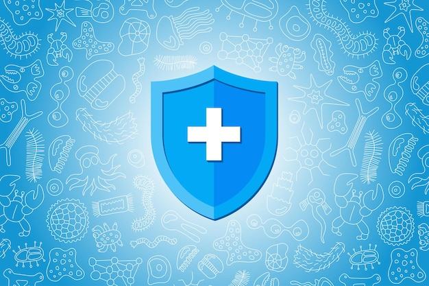Scudo blu di prevenzione medica igienica dell'immunità che protegge dai germi e dai batteri del virus. concetto di sistema immunitario. progettazione piana dell'insegna dell'illustrazione di vettore di microbiologia e medicina