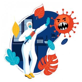 L'immunologo in tuta protettiva medica minaccia il virus con la siringa con il vaccino.