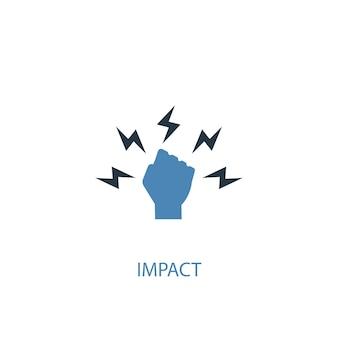 Concetto di impatto 2 icona colorata. illustrazione semplice dell'elemento blu. disegno di simbolo del concetto di impatto. può essere utilizzato per ui/ux mobile e web