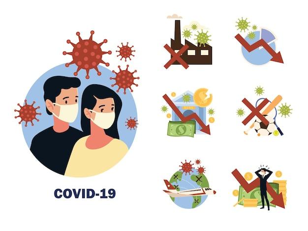 Impatto del coronavirus covid 19, il virus colpisce l'economia globale, i viaggi, lo sport e lo stile di vita