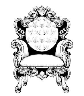 Poltrona barocca imperiale con ornamenti di lusso