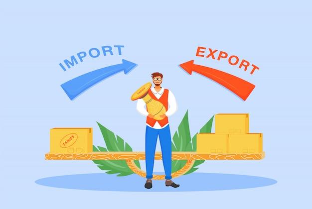 Illustrazione piana di concetto di tasse di importazione ed esportazione. uomo con timbro tariffario personaggio dei cartoni animati 2d per il web design. politica commerciale internazionale, idea creativa per la regolamentazione dei prezzi fiscali