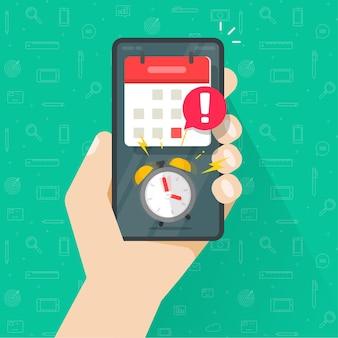 Avviso di notifica dell'app online di scadenza importante scadenza di persona in mano con promemoria del telefono cellulare