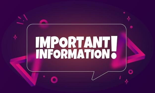 Informazioni importanti. banner a fumetto con testo di informazioni importanti. stile del vetromorfismo. per affari, marketing e pubblicità. vettore su sfondo isolato. env 10.