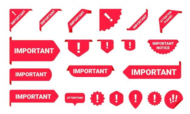 Set di etichette per banner con informazioni importanti sull'avviso