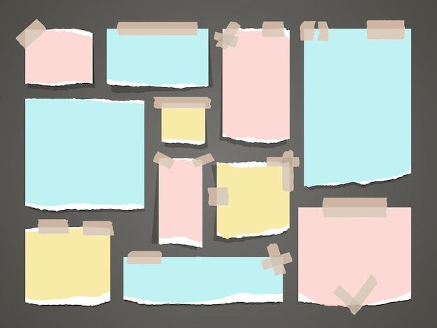 Importanti note gialle e rosse. documenti di blocco note per ufficio organizzati. pulisca il pezzo in bianco dell'illustrazione di carta colorata