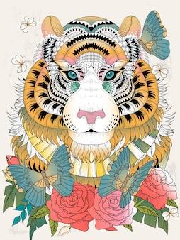 Imponente tigre con elemento floreale da colorare per adulti