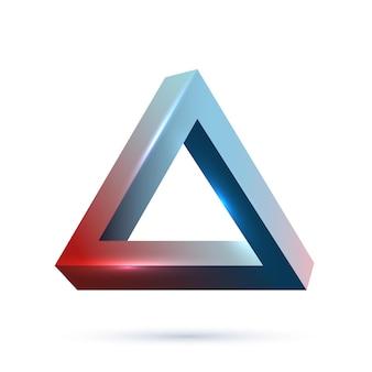 Oggetto di geometria impossibile isolato su sfondo bianco disegno dell'icona della scienza