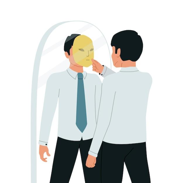 Sindrome da impostore. un uomo d'affari si guarda allo specchio e si toglie la maschera da impostore. illustrazione.