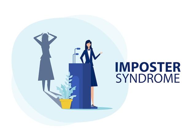 Sindrome dell'impostore donna in piedi per il suo profilo attuale con l'ombra della paura dietro. ansia e mancanza di fiducia in se stessi al lavoro, la persona che finge è il concetto di qualcun altro
