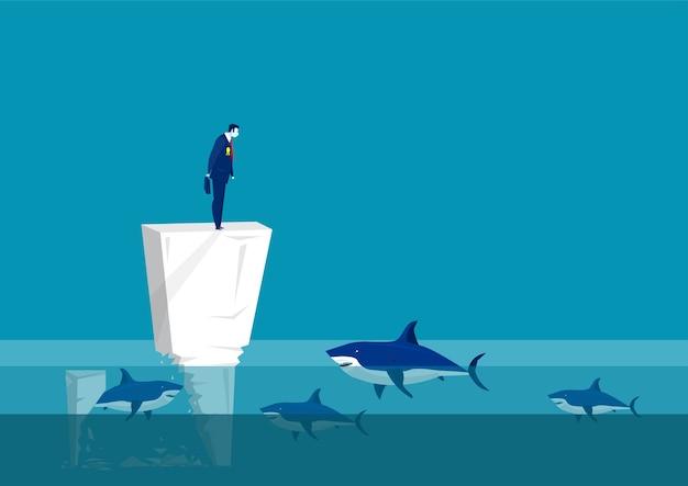 Sindrome dell'impostore. uomo triste sul muro in mezzo alla squadra di mare circondato da squali. problema psicologico. problema mentale. illustrazione