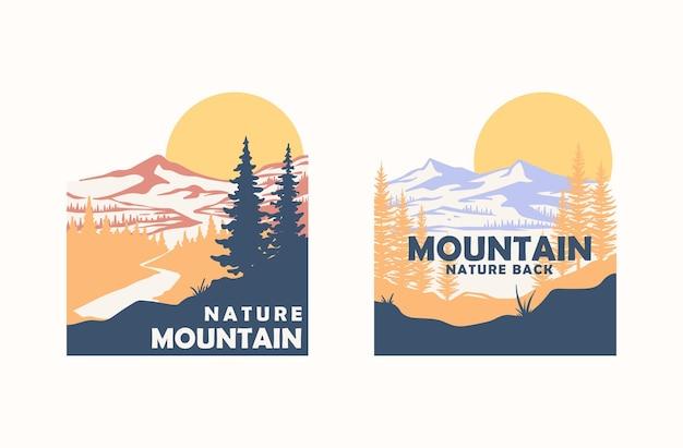 Impressionante scenario di montagna semplice illustrazione vettoriale