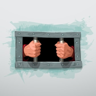 Mani imprigionate dietro sbarre di metallo su bianco