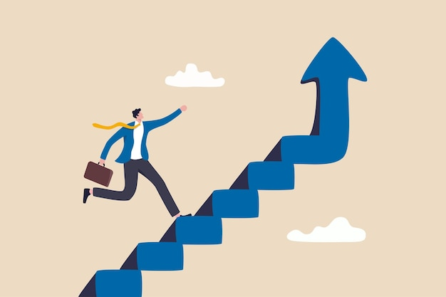 Miglioramento o crescita della carriera, scala verso il successo, aumento del reddito o miglioramento delle capacità per raggiungere il concetto di obiettivo aziendale, passo dell'uomo d'affari di fiducia salendo la scala del successo con la freccia in salita.