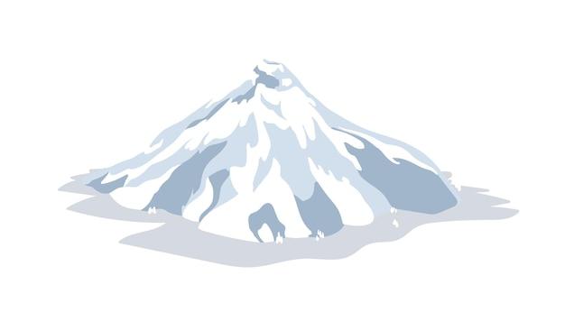 Vulcano inattivo o dormiente coperto da neve, ghiaccio o ghiacciaio isolato su sfondo bianco. attività sismica o vulcanica. punto di riferimento naturale o morfologia. illustrazione vettoriale colorata in stile cartone animato piatto.