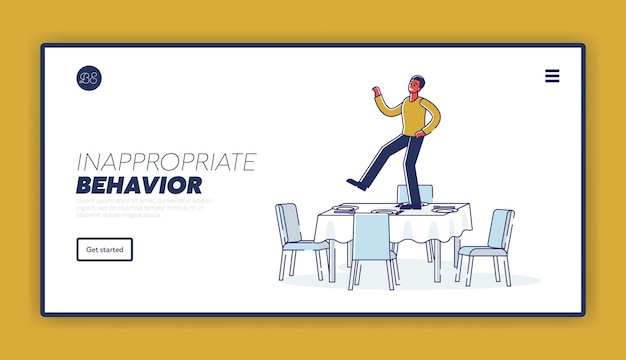 Concetto di pagina di destinazione del comportamento inappropriato con uomo ubriaco che balla sul tavolo servito durante l'evento a una festa o un evento festivo