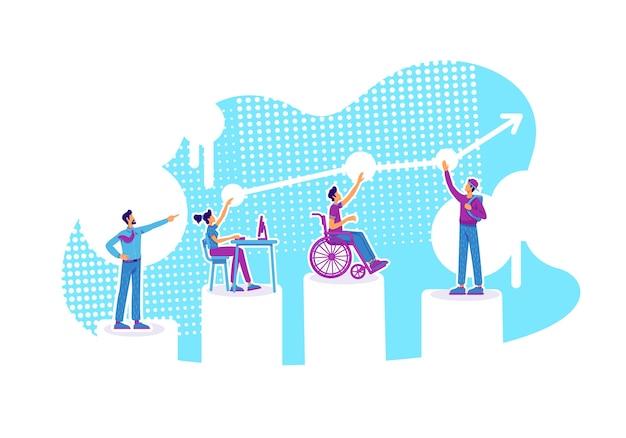 Illustrazione di concetto piatto educazione inclusiva. classi di distanza. alunni con bisogni speciali. studenti e tutor personaggi dei cartoni animati 2d per il web design. idea creativa di mentoring di gruppo