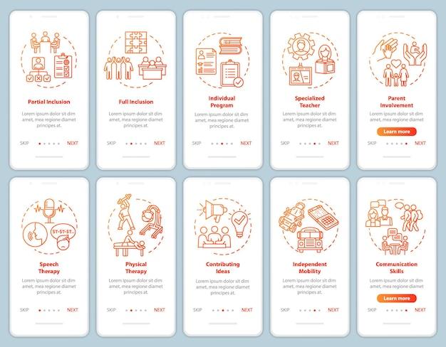 Schermata della pagina dell'app mobile di onboarding del programma inclusivo con concetti impostati. terapia ed educazione per le persone disabili passo passo istruzioni grafiche. modello vettoriale dell'interfaccia utente con illustrazioni a colori rgb
