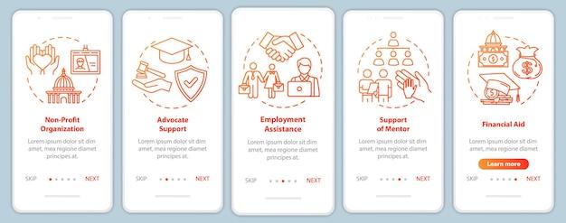 Schermata della pagina dell'app mobile di onboarding della società inclusiva con concetti. supporto sociale e finanziario: istruzioni grafiche in cinque passaggi. modello vettoriale dell'interfaccia utente con illustrazioni a colori rgb