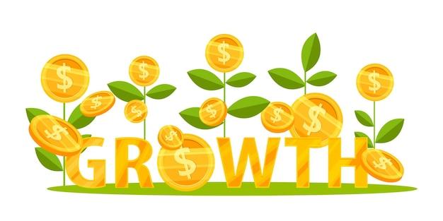Crescita del reddito o aumento delle entrate concetto di finanza aziendale con piante di monete da un dollaro che salgono.