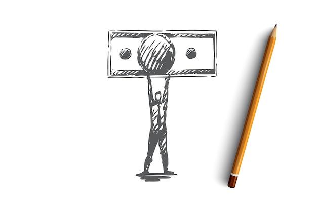 Reddito, investimento, denaro, concetto finanziario. persona disegnata a mano con contanti in schizzo di concetto di mani. illustrazione.