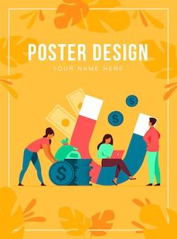 Attrazione di reddito e denaro. le persone con il magnete ottengono contanti. illustrazione per prestito veloce, reddito, investimento, profitto, finanza, concetto di successo