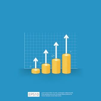 Aumento del salario. margine di crescita dei profitti aziendali prestazioni finanziarie del ritorno sull'investimento roi con la freccia. icona di vendita di costo. simbolo del dollaro in stile piatto