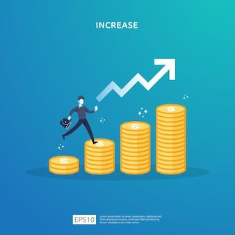 Illustrazione di concetto di aumento del tasso di stipendio del reddito con carattere di persone e freccia. crescita dei profitti aziendali, vendita crescere i ricavi del margine con il simbolo del dollaro. prestazioni finanziarie del roi del ritorno sull'investimento