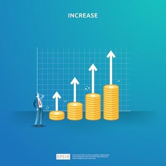 Illustrazione di concetto di aumento del tasso di stipendio del reddito con carattere di persone e freccia. prestazioni finanziarie del roi del ritorno sull'investimento. crescita dei profitti aziendali, vendita crescere i ricavi del margine con il simbolo del dollaro